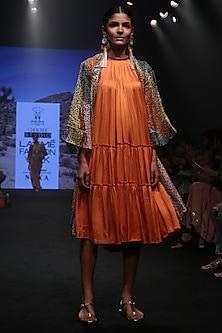 Tangerine Pleated Tiered Dress by Rara Avis