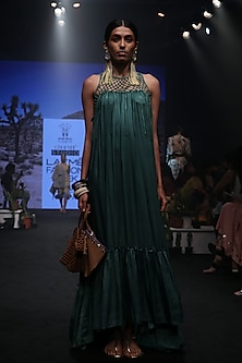 Jungle Green Pleated Tiered Dress