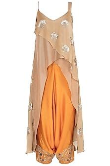 Orange embroidered tunic set