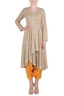 Olive embroidered tunic with dhoti pants by Rriso
