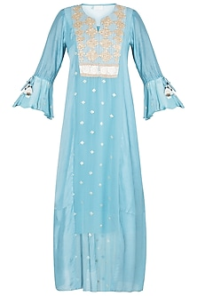 Aqua embroidered dress with slip