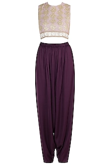 Pink embroidered crop top with dhoti pants