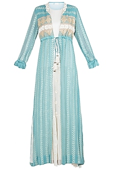 Aqua embroidered jacket with dress by Rriso