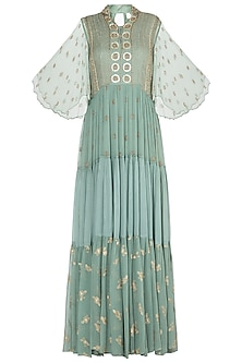 Sea green embroidered maxi dress