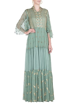 Sea green embroidered maxi dress by Rriso