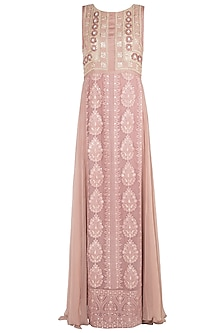 Light copper embroidered maxi dress