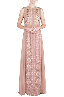 Light copper embroidered maxi dress by Rriso