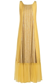 Yellow embroidered dress with slip