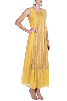 Yellow embroidered dress with slip by Rriso