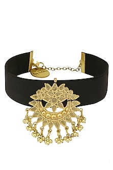 Silver and Gold Finish Floral Cutwork Choker Necklace by Ritika Sachdeva