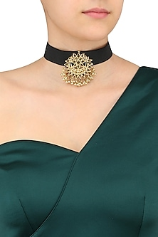 Silver and Gold Finish Floral Cutwork Choker Necklace
