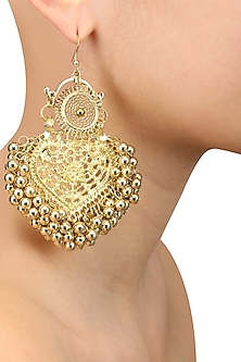 Gold Finish Mini Paan Leaf Ghungroo Earrings