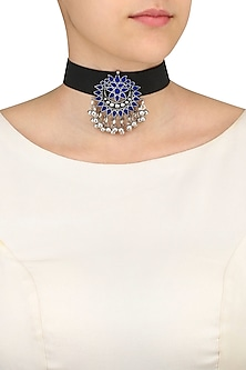 Silver Finish Navy Enamel Floral Cutwork Choker Necklace