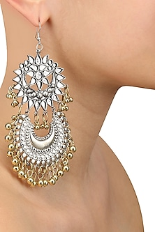 Silver Finish Floral Cutwork Crescent Gold Ghungroo Earrings by Ritika Sachdeva