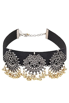 Silver Finish Triple Floral Cutwork Pendant Choker Necklace by Ritika Sachdeva