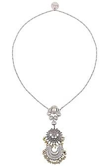 Silver Finish Floral Cutwork Crescent Motif Chain Necklace by Ritika Sachdeva