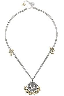Silver Finish Floral Cutwork Pendant Triple Chains Necklace by Ritika Sachdeva