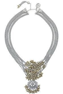 Silver Finish Floral Cutwork Pendant Multi Chains Necklace by Ritika Sachdeva