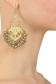 Gold Finish Embossed Paan Motif Earrings