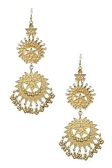 Gold Finish Double Cutwork Earrings by Ritika Sachdeva