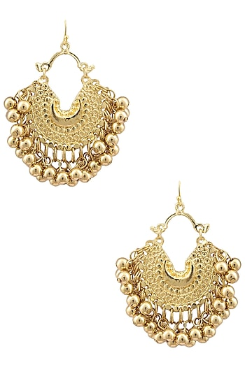 Gold Plated Small Crescent Metal Ball Earrings by Ritika Sachdeva