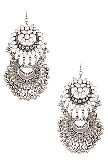 Silver Plated Double White Enamel Cutwork Crescent Motifs Earrings by Ritika Sachdeva