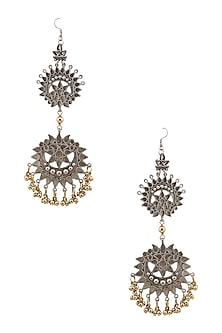 Silver Plated Double Cutwork Crescent Gold Ghungroos Earrings by Ritika Sachdeva