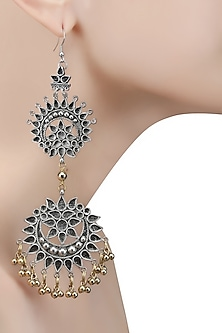Silver Plated Double Cutwork Crescent Gold Ghungroos Earrings
