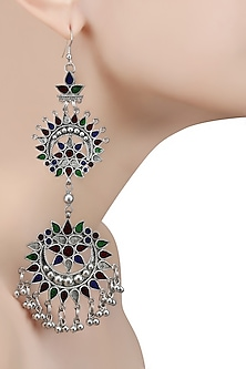 Silver Plated Double Meena Cutwork Earrings