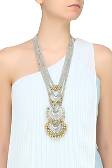 Gold And Silver Finish 3 Crescent Shaped Pendant Drop Necklace by Ritika Sachdeva