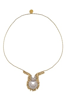 Gold And Silver Finish Twin Crescent Shaped Pendant Drop Necklace by Ritika Sachdeva