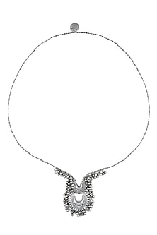 Silver Finish Twin Crescent Shaped Pendant Drop Necklace by Ritika Sachdeva