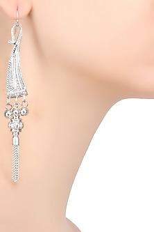 Silver Finish Dagger Head Fringe Earrings by Ritika Sachdeva