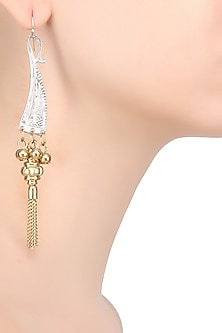 Gold And Silver Finish Dagger Head Fringe Earrings by Ritika Sachdeva