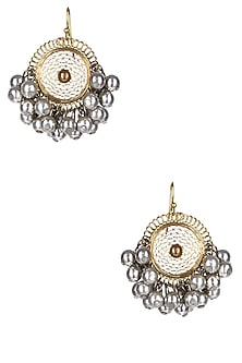 Gold And Silver Finish Circular Filigree Earrings by Ritika Sachdeva