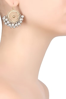 Gold And Silver Finish Circular Filigree Earrings by Ritika Sachdeva
