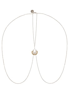 Gold And Silver Finish Crescent Shaped Pendant Drop Body Chain by Ritika Sachdeva