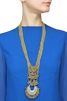 Antique gold and silver crescent ghungroo multiple strand necklace by Ritika Sachdeva