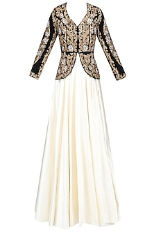 Black and Gold Zardozi Velvet Embroidered Jacket and Plain Skirt Set