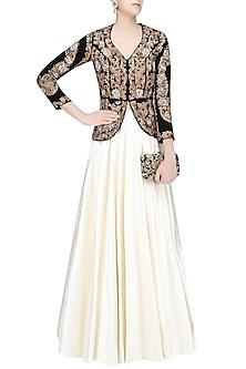 Black and Gold Zardozi Velvet Embroidered Jacket and Plain Skirt Set by Rashi Kapoor