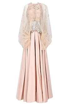 Nude Floral Work Textured Jacket and Skirt Set