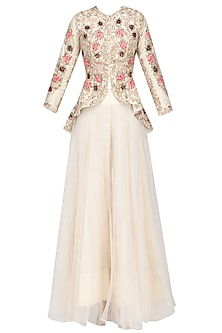 Off White Floral Embroidered Victorian Jacket and Skirt Set