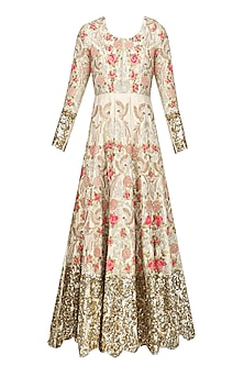 Champagne Gold Floral Zardozi and Sequins Embroidered Anarkali Kurta