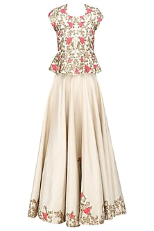 Champagne Gold and Pink Floral Embroidered Peplum Top and Skirt Set