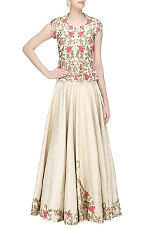 Champagne Gold and Pink Floral Embroidered Peplum Top and Skirt Set by Rashi Kapoor