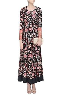 Black Floral Embroidered Floor Length Kurta by Rashi Kapoor