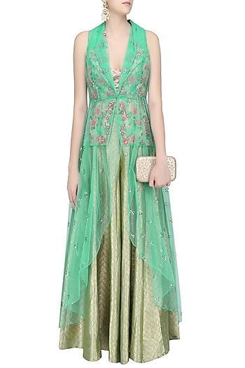 Green Floral Embroidered Jacket and Sharara Pants Set by Rashi Kapoor