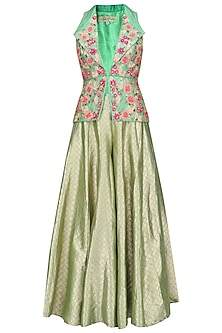 Green Floral Embroidered Jacket and Sharara Pants Set