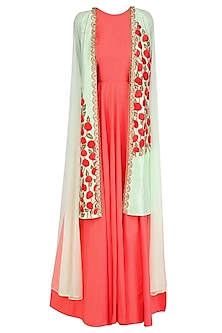 Coral Tunic with Apple Green Overlap Jacket by Rishi & Soujit