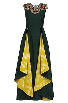 Bottle Green and Lime Yellow Floral Layered Tunic by Rishi & Soujit